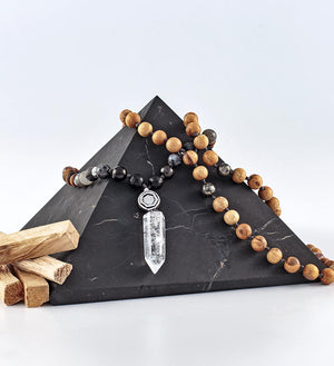mala beads, mala necklace, palo santo, shungite, tiger eye, moonstone, labradorite, pyrite, obsidian, clear quartz