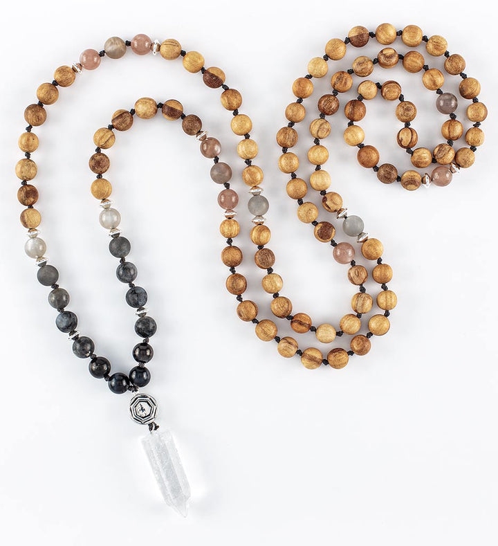 mala beads, mala necklace, palo santo, shungite, blue tiger eye, peach and grey moonstone, labradorite, clear quartz