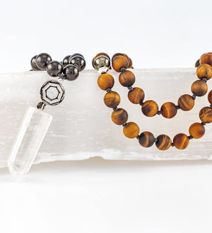mala beads, mala necklace, shungite, tiger eye, pyrite - detail