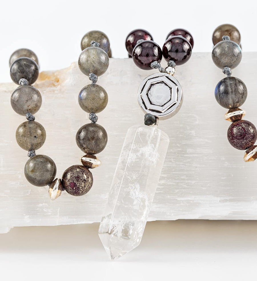 mala beads, mala necklace, labradorite, red garnet, pyrite, clear quartz - detail