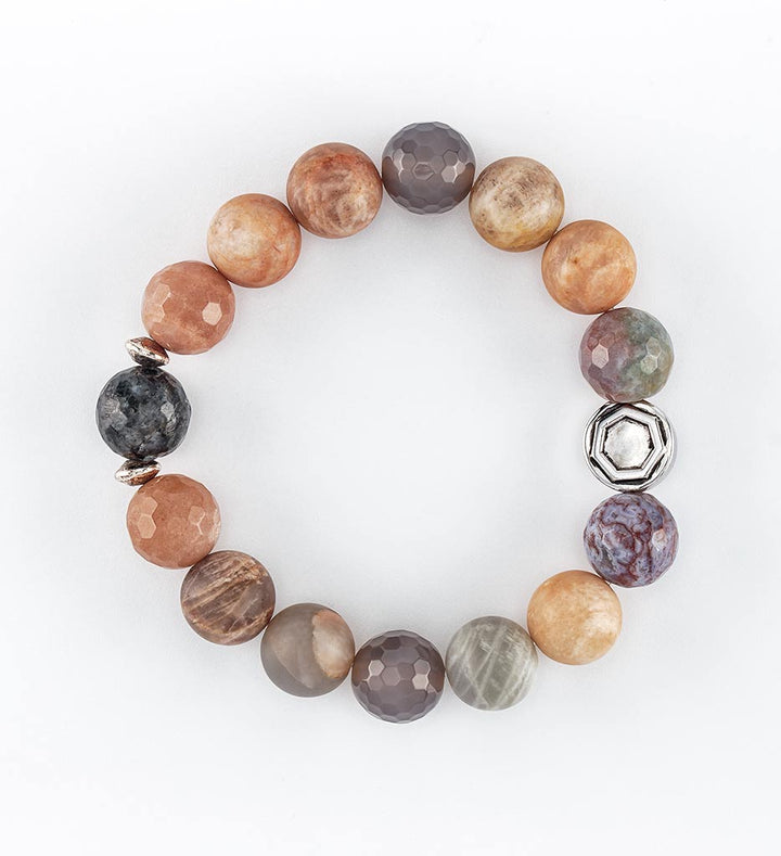 bracelet, sunstone, labradorite, indian agate