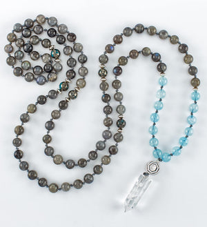 mala beads, mala necklace, labradorite, aquamarine, pyrite, clear quartz