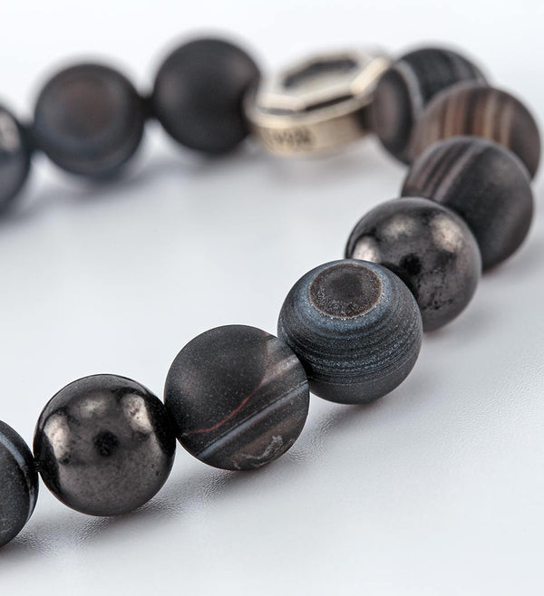 shungite, black sardonyx, striped dzi bead bracelet - detail