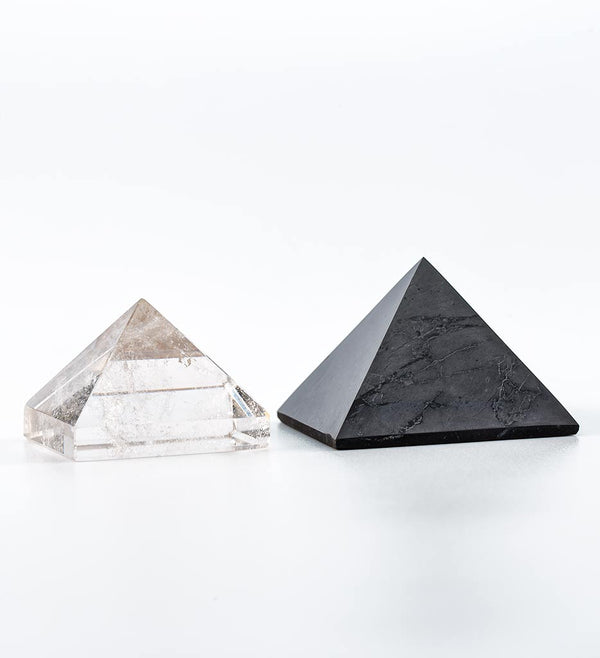 shungite pyramid, clear quartz pyramid