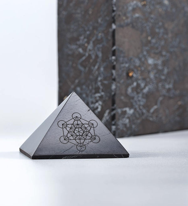 Shungite PYRAMID with Metatron's Cube