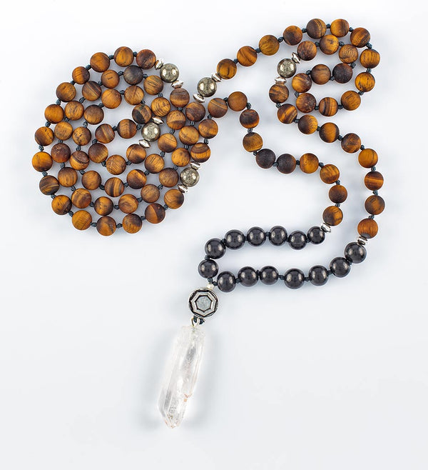 mala beads, mala necklace, shungite, tiger eye, pyrite