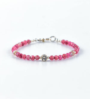 bracelet, faceted pink tourmaline, faceted white sapphire