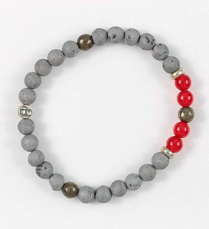 bracelet, grey agate, red agate, pyrite