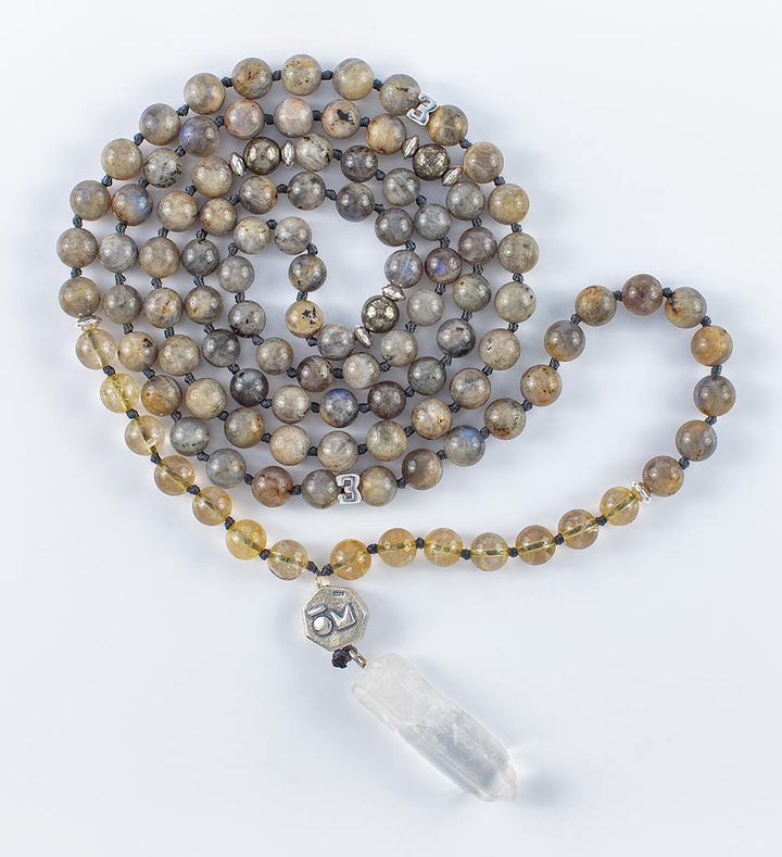 mala beads, mala necklace, labradorite, golden rutilated quartz, pyrite, clear quartz