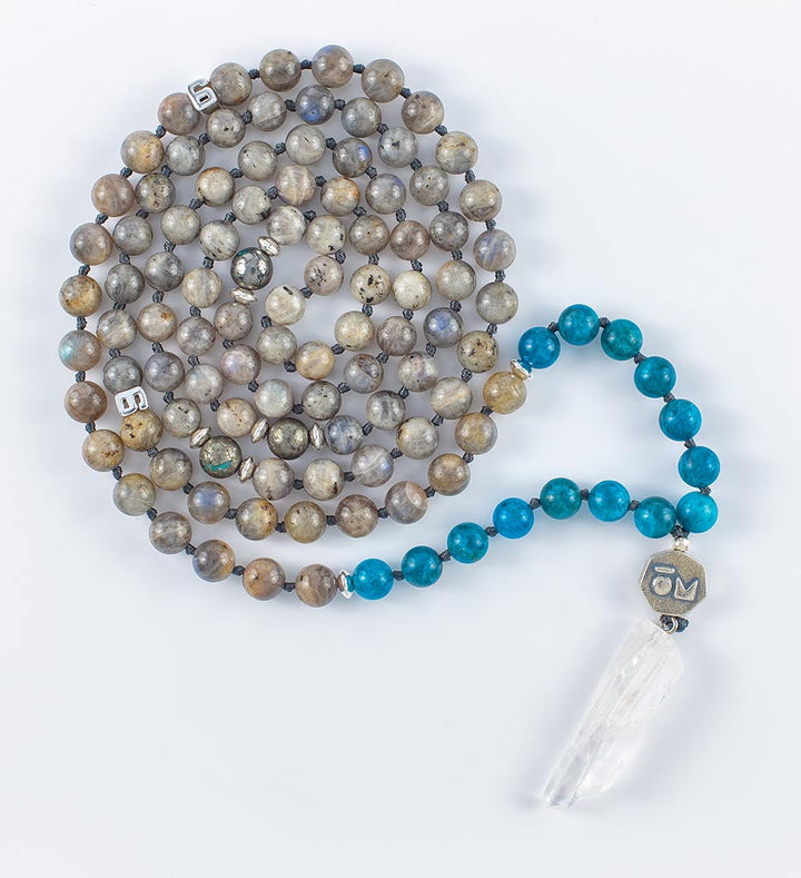 mala beads, mala necklace, labradorite, blue apatite, pyrite, clear quartz