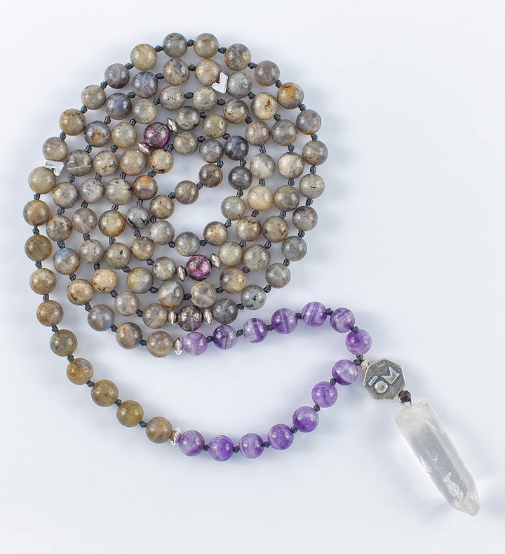 mala beads, mala necklace, labradorite, amethyst, pyrite, clear quartz
