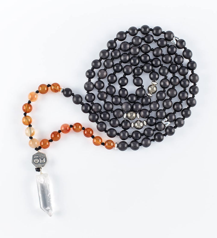 mala beads, mala necklace, black agarwood, orange agate, pyrite, clear quartz