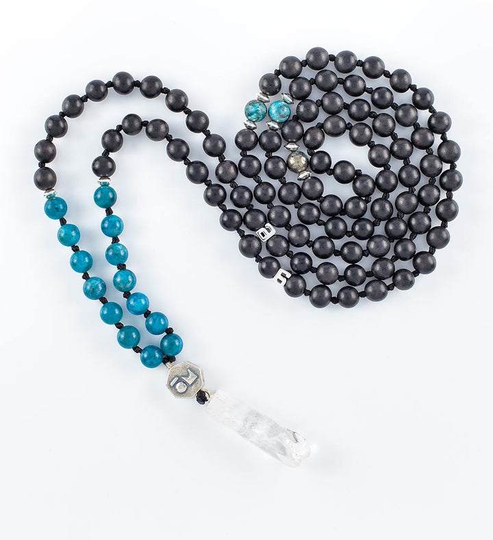 mala beads, mala necklace, black agarwood, blue apatite, pyrite, clear quartz