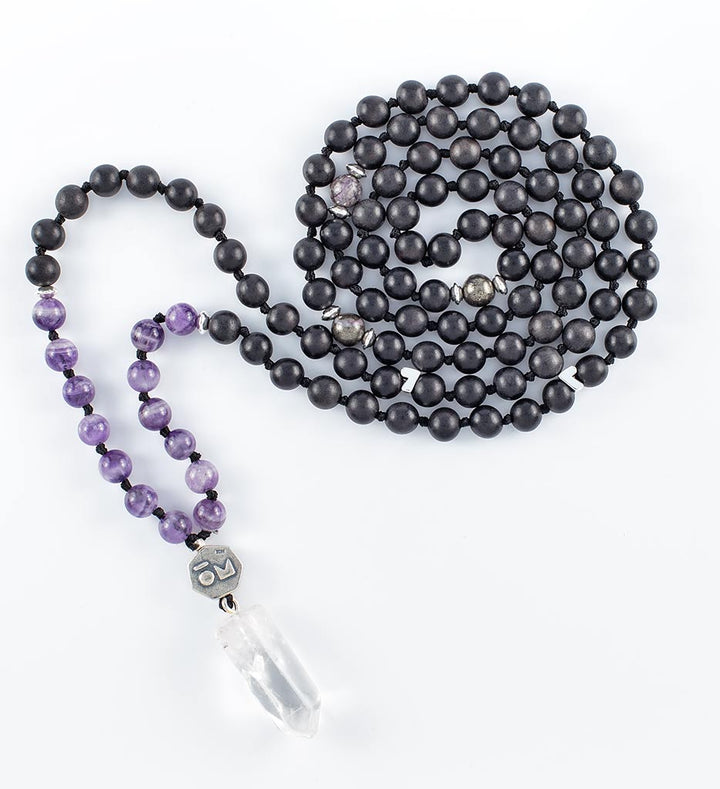 mala beads, mala necklace, black agarwood, amethyst, pyrite, clear quartz