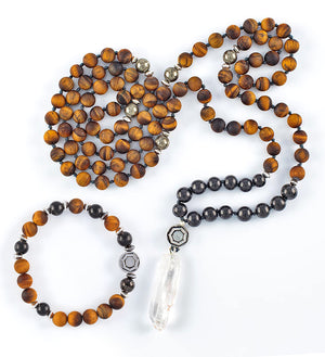 mala beads, mala necklace, bracelet, shungite, tiger eye, set