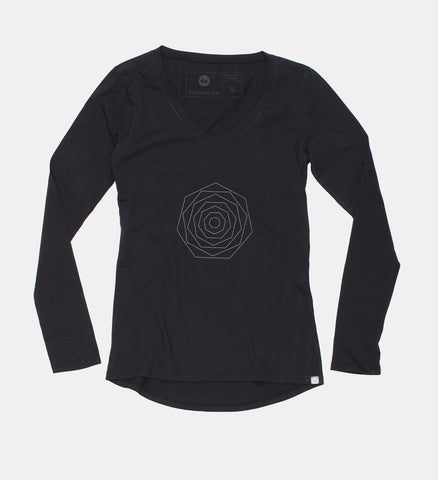 Black Small Flower Long Sleeve Tee