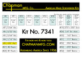 Chapman Kit No. 7341 - Bit Parts list - 24 bit set with Phillips, Slotted, SAE Hex Bits and 5 Bristol / 6 Spline bits.  | Chapman MFG