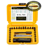 7341 Standard + Bristol / 6 Spline Screwdriver Set - 24 bit set with Phillips, Slotted, SAE Hex Bits and 5 Bristol / 6 Spline bits. | Chapman MFG