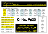 Kit No. 9600 Slotted Bits -Bit Parts List | Chapman MFG