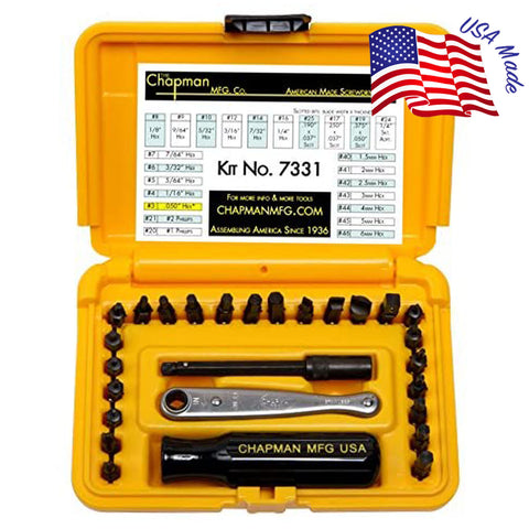 7331 SAE + Metric Allen Hex Screwdriver Set - 24 bit set with Phillips, Slotted, SAE and Metric MM Hex Bits. - Safety Yellow Case | Chapman MFG