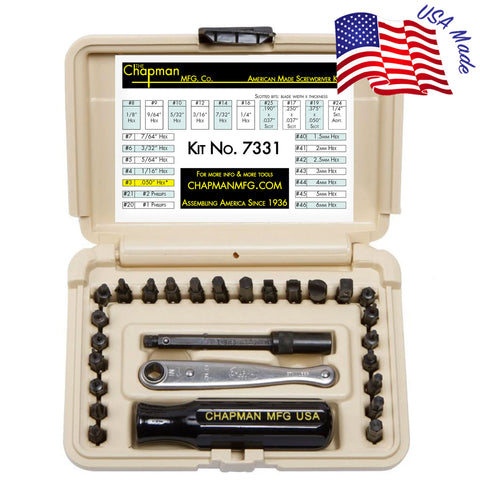 7331 SAE + Metric Allen Hex Screwdriver Set - 24 bit set with Phillips, Slotted, SAE and Metric MM Hex Bits. -Desert Tan Case | Chapman MFG