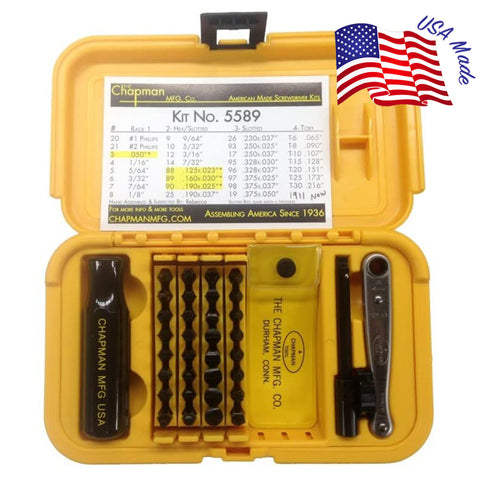 5589 Ultimate Gunsmith Slotted + Star/Torx Screwdriver Set - Now with the #1911 Grip Screw Bit & Star bits that fit Torx screws! | Chapman MFG