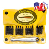1316x All Purpose Screwdriver Set has SAE Allen Hex, Slotted, Phillips bits and a midget ratchet in a compact vinyl case.| Chapman MFG