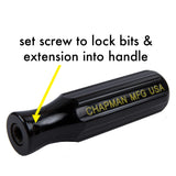 "1/4"" Drive Screwdriver Handle with set screw to lock bits and extension into handle