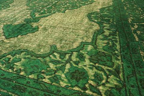 Vintage emerald green over-dyed rug from the Carved Collection