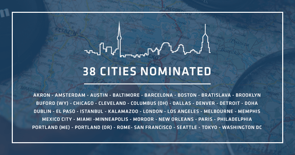 38 cities were nominated for the second RugYourCity design challenge