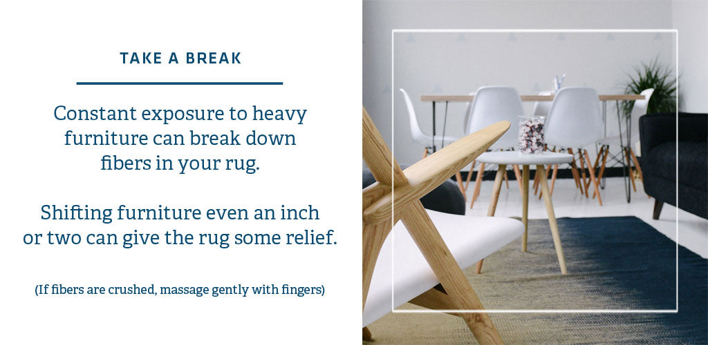 Weighty furniture can crush the pile of rugs; simple tips to restore rug fibers