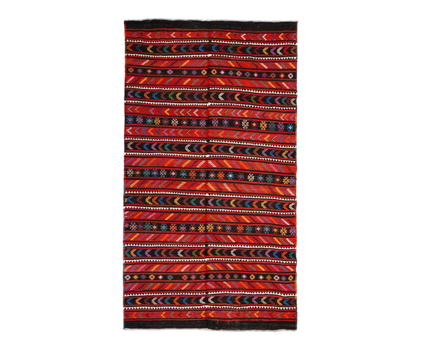 DOUBLE-WIDE VINTAGE ANATOLIAN KILIM IN RED + BLACK 6'7