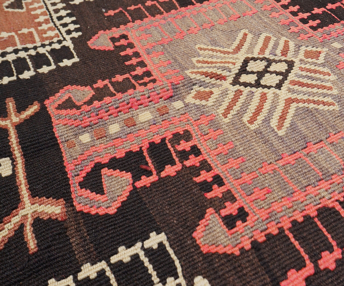... Vintage Anatolian Kilim with Rams Horn Medallions in Brown + Pink 5u00271