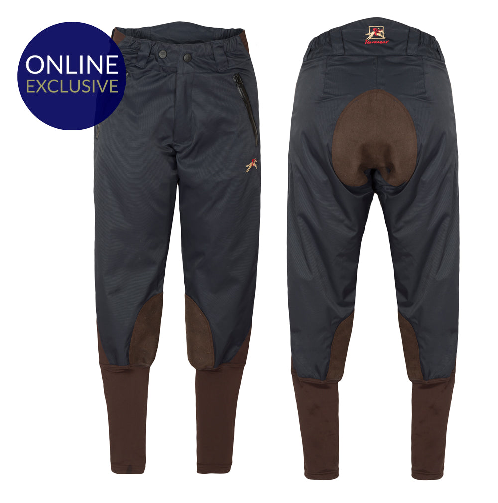 Paul Carberry Racewear PC Breeches Navy and Chocolate Brown. Water resistant horse riding breech.