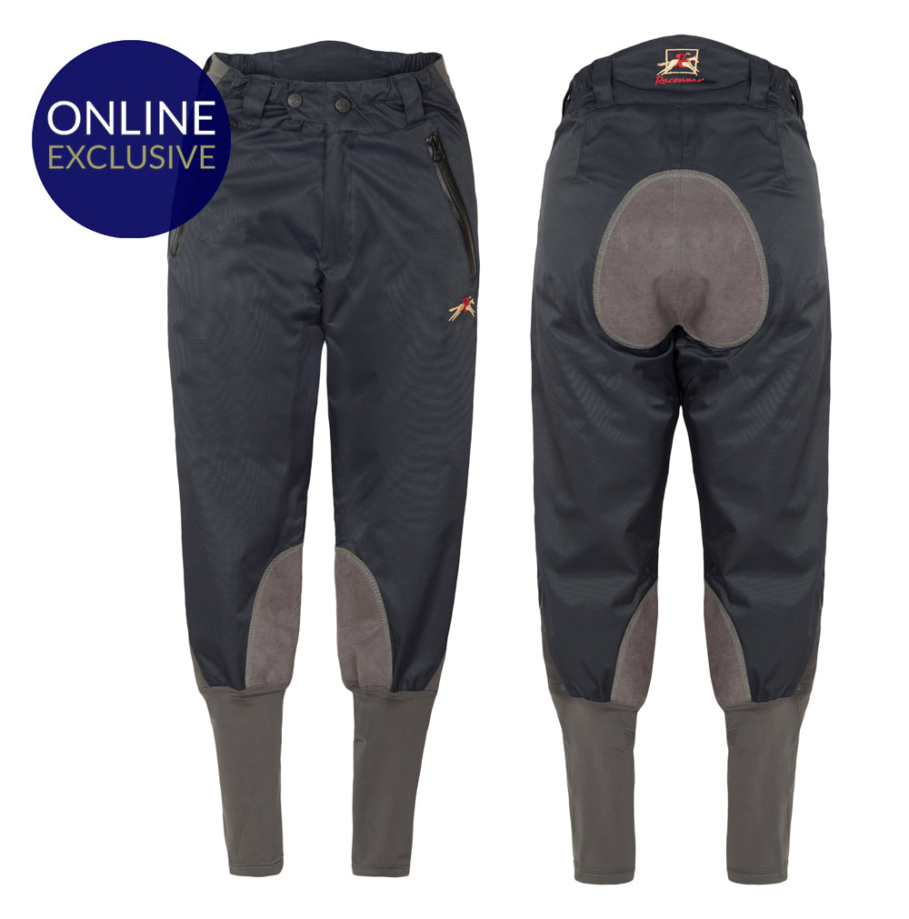 Paul Carberry Racewear PC Breeches Navy and Grey. Water resistant horse riding breech.