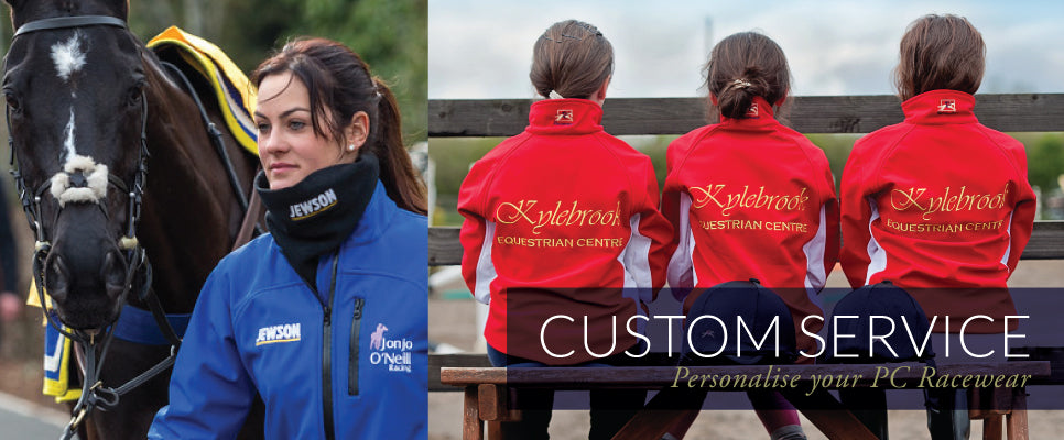 Paul Carberry PC Racewear - Custom Service - Brand your club, team and staff outdoor and horse riding clothing