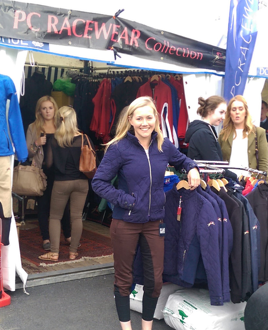 Irish Young Eventer Kerri Lyons wearing PC Racewear jacket from new collection, at the RDS Dublin Horse Show 2015