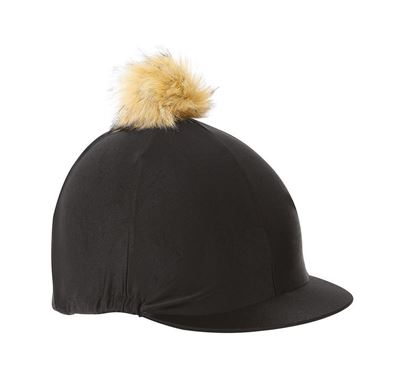 PC Lycra Hat Silk with Fur Bobble - Black
