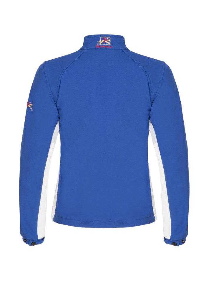 Paul Carberry PC Racewear Softshell Jacket Royal Blue/White (back view)