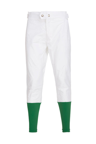 PC Race Breeches - White with Green Lycra