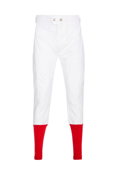PC Race Breeches - White with Red Lycra