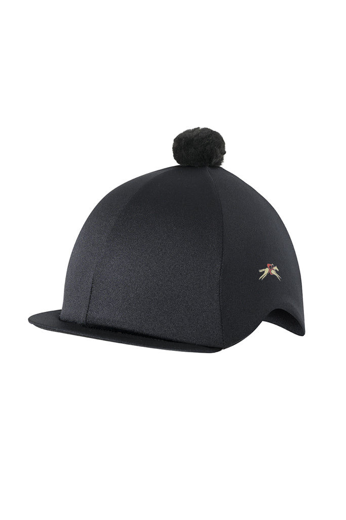 Paul Carberry PC Racewear Horse Riding Hat Cover Silk with Bobble - Black
