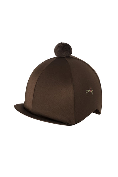 Paul Carberry PC Racewear Horse Riding Hat Cover Silk with Bobble - Chocolate Brown