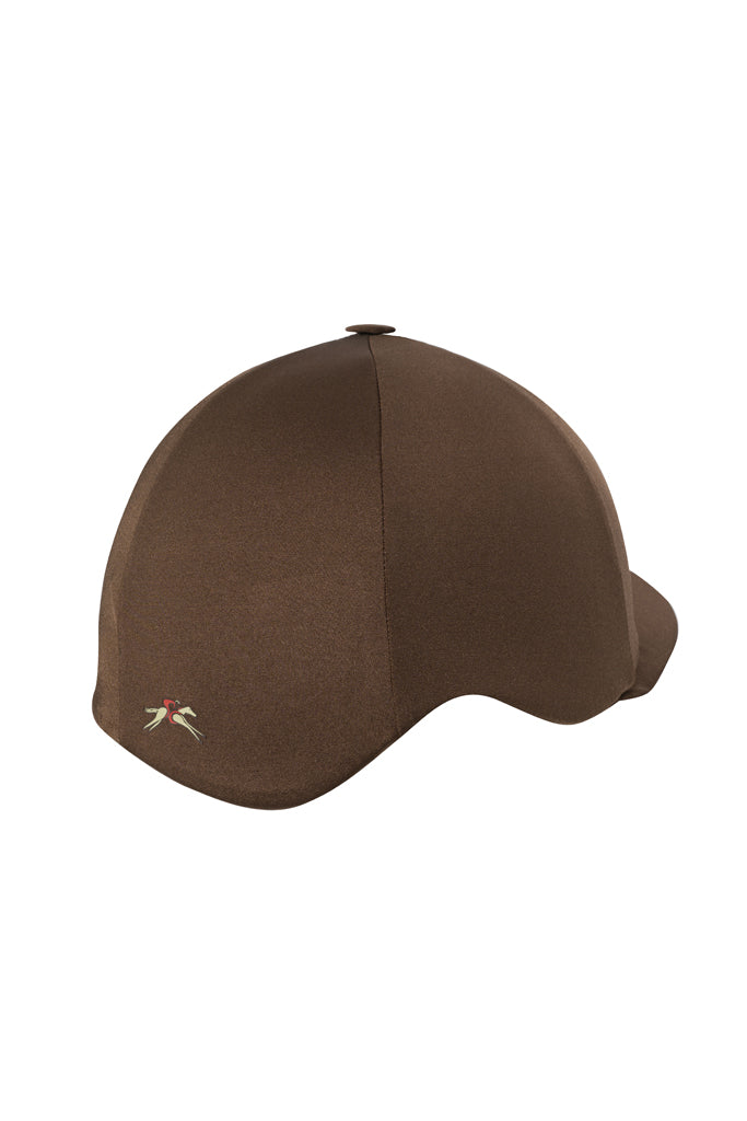 Paul Carberry PC Racewear Horse Riding Hat Cover Silk -  Chocolate Brown Back