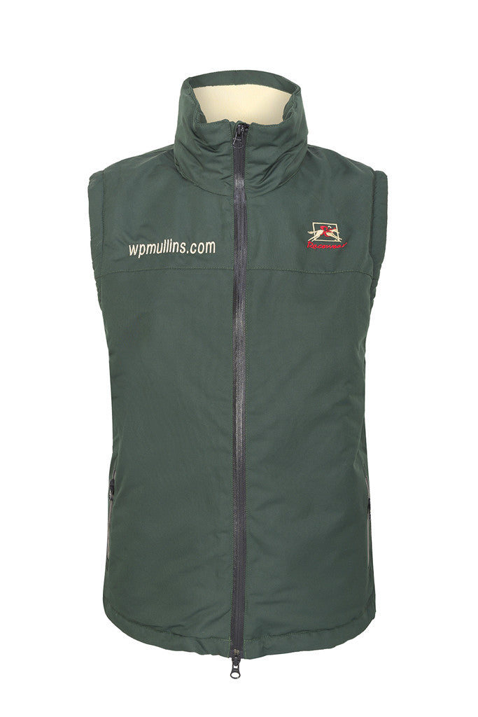 WP Mullins PC Warmer - Fleece Sleeveless Horse Riding Gilet - Racing Green Front