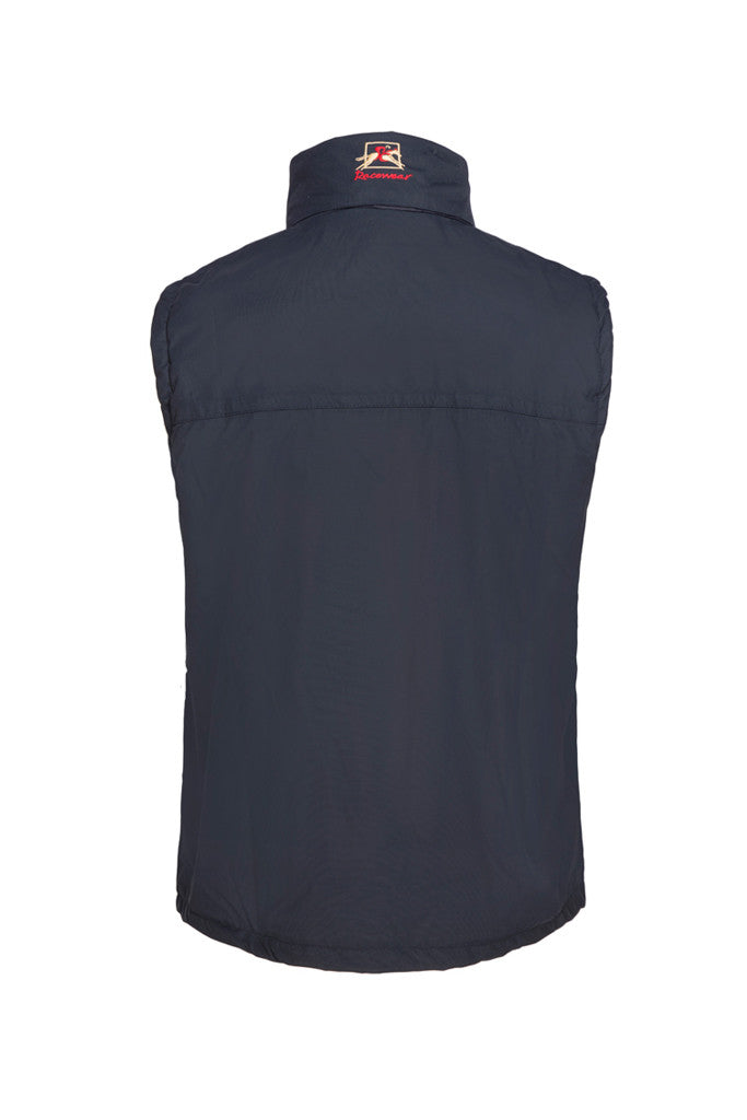 Paul Carberry PC Racewear Warmer - Children's Fleece Sleeveless Horse Riding Gilet With Hood Water Resistant - Navy Back