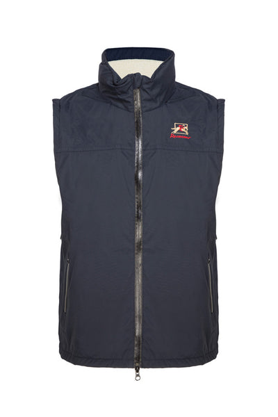 Paul Carberry PC Racewear Warmer - Children's Fleece Sleeveless Horse Riding Gilet With Hood Water Resistant - Navy