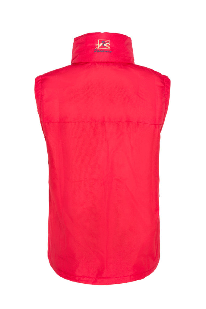 Paul Carberry PC Racewear Warmer - Childrens Fleece Sleeveless Horse Riding Gilet With Hood Water Resistant - Red Back