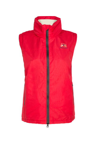 Paul Carberry PC Racewear Warmer - Childrens Fleece Sleeveless Horse Riding Gilet With Hood Water Resistant - Red