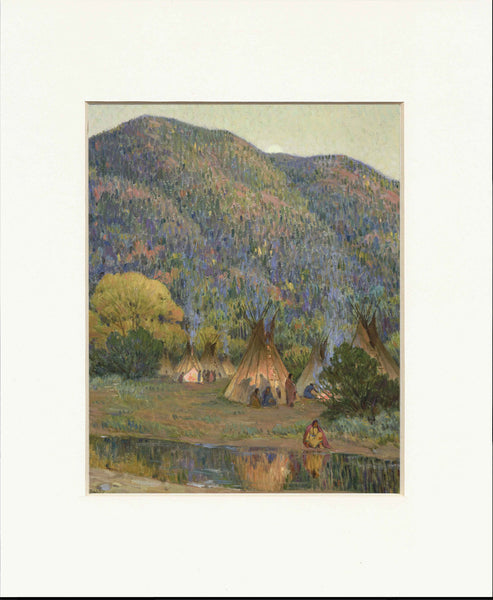 "Indian Village 11"" x 14""  Matted Print"